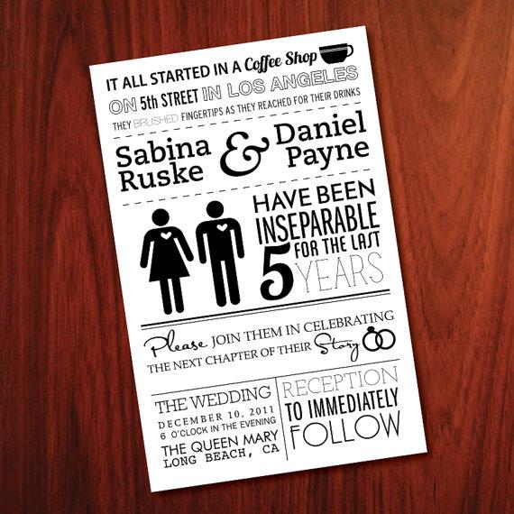 Inbjudan till bröllop i infografik-stil